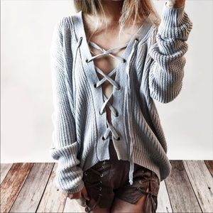 Bare Anthology Sweaters - Bare Anthology Lace up Sweater